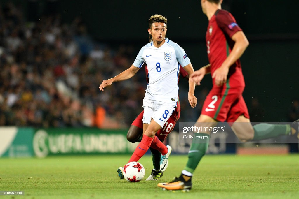 Andre Dozzell of England in action during the UEFA European Under-19 Championship Final between England and Portugal on July 15, 2017 in Gori, Georgia.
