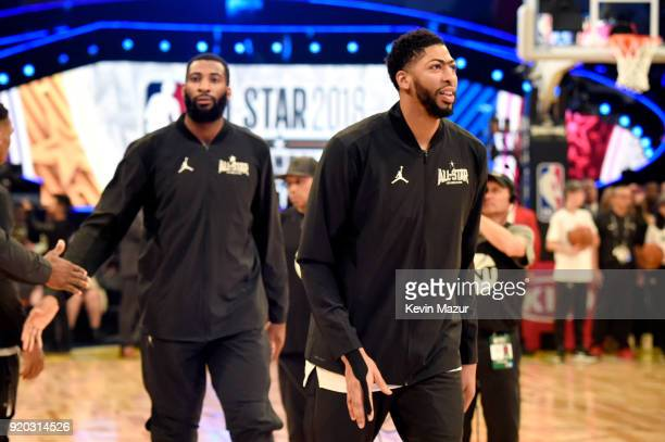 Andre Drummond and Anthony Davis warm up at the 67th NBA AllStar Game Team LeBron Vs Team Stephen at Staples Center on February 18 2018 in Los...