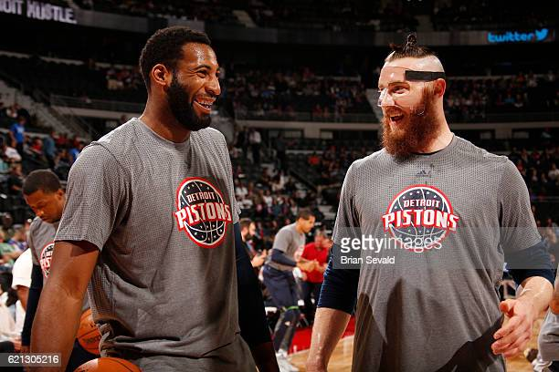 Andre Drummond and Aron Baynes of the Detroit Pistons warms up before the game against the Denver Nuggets on November 5 2016 at The Palace of Auburn...