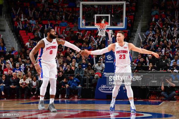 Andre Drummond and Blake Griffin of the Detroit Pistons during the game against the Miami Heat on February 3 2018 at Little Caesars Arena in Detroit...
