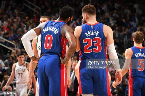 Andre Drummond and Blake Griffin of the Detroit Pistons talk during Game Four of Round One of the 2019 NBA Playoffs against the Milwaukee Bucks on...
