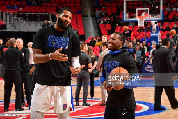 Andre Drummond and Kay Felder of the Detroit Pistons warm up prior to the game against the Portland Trail Blazers on February 5 2018 at Little...