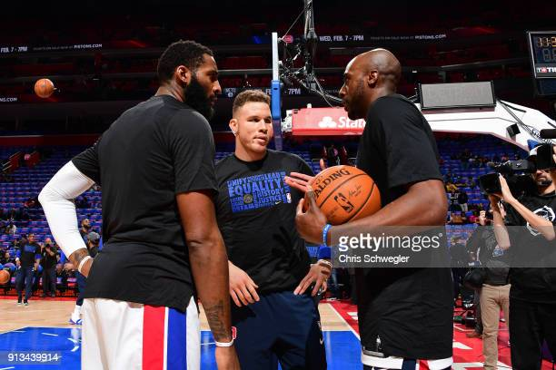 Andre Drummond Anthony Tolliver and Blake Griffin of the Detroit Pistons huddle up before the game against the Memphis Grizzlies on February 1 2018...