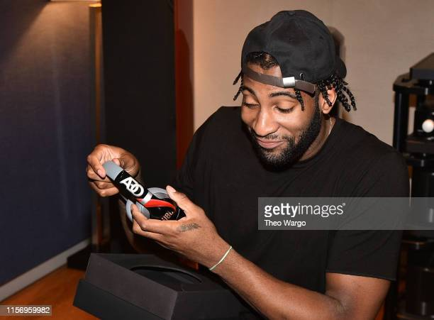 Andre Drummond debuts a new pair of custom JBL headphones at JBL Full-Court Press, an exclusive panel discussion with professional basketball players...