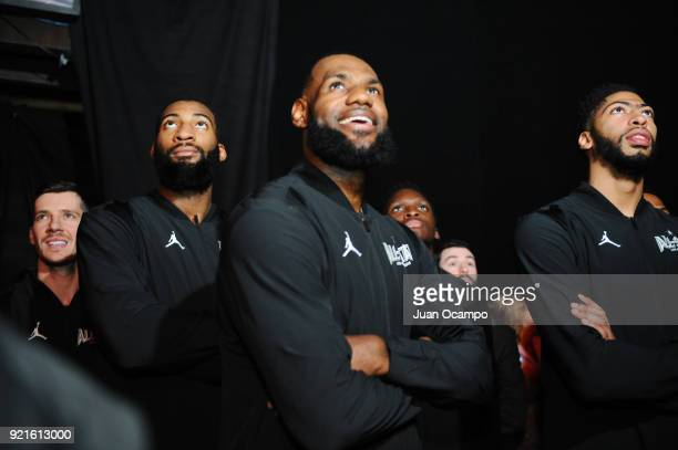 Andre Drummond LeBron James and Anthony Davis of team Stephen looks on during the NBA AllStar Game as a part of 2018 NBA AllStar Weekend at STAPLES...