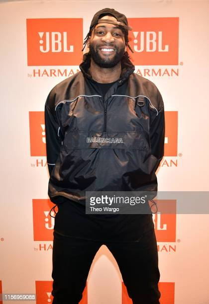 Andre Drummond, NBA star and JBL ambassador arrives to participate at JBL Full-Court Press, an exclusive panel discussion with professional...