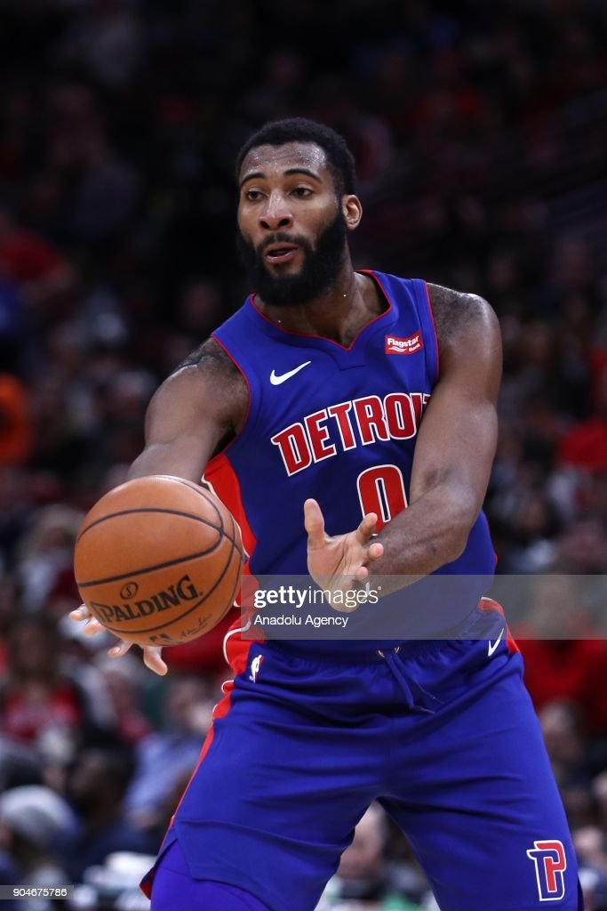 Andre Drummond (0) of Detroit Pistons in action during the NBA game between Detroit Pistons and Chicago Bulls at the United Center on January 13, 2018 in Chicago, Illinois.