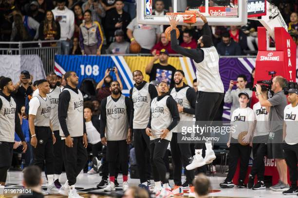 Andre Drummond of Team Lebron dunks during AllStar Practice as part of NBA AllStar Weekend at the Convention Center in Los Angeles California on...