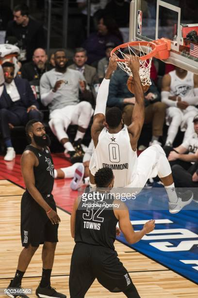 Andre Drummond of Team Lebron dunks in the third quarter during the 2018 NBA AllStar Game at the Staples Center in Los Angeles California on February...