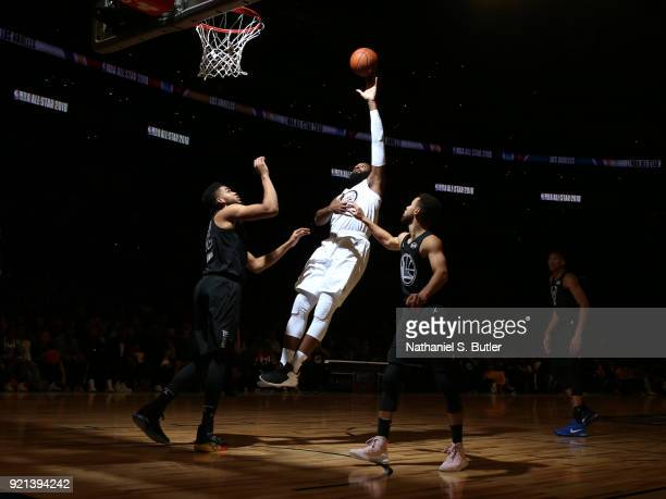 Andre Drummond of Team LeBron shoots the ball against Team Stephen during the NBA AllStar Game as a part of 2018 NBA AllStar Weekend at STAPLES...