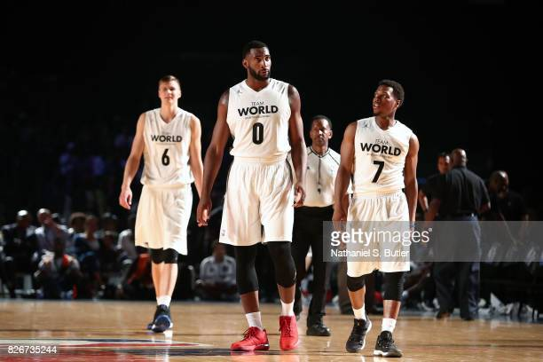 Andre Drummond of Team World looks on during the game against Team Africa in the 2017 Africa Game as part of the Basketball Without Borders Africa at...