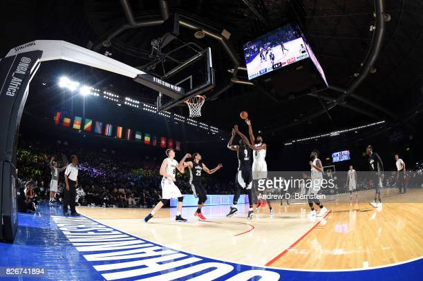 Andre Drummond of Team World shoots the ball against Team Africa in the 2017 Africa Game as part of the Basketball Without Borders Africa at the...