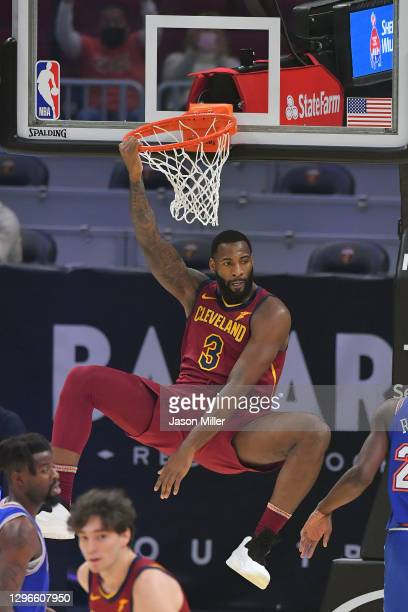 Andre Drummond of the Cleveland Cavaliers celebrates after a dunk during the first quarter against the New York Knicks at Rocket Mortgage Fieldhouse...