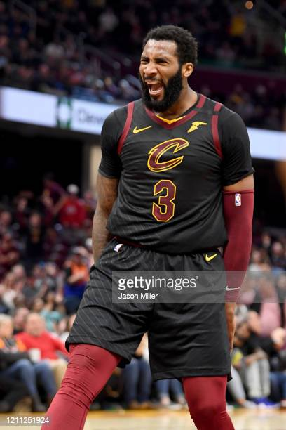 Andre Drummond of the Cleveland Cavaliers celebrates after scoring during the second half against the San Antonio Spurs at Rocket Mortgage Fieldhouse...