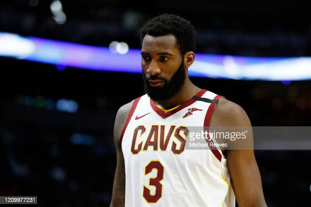 Andre Drummond of the Cleveland Cavaliers looks on against the Miami Heat during second half at American Airlines Arena on February 22, 2020 in...