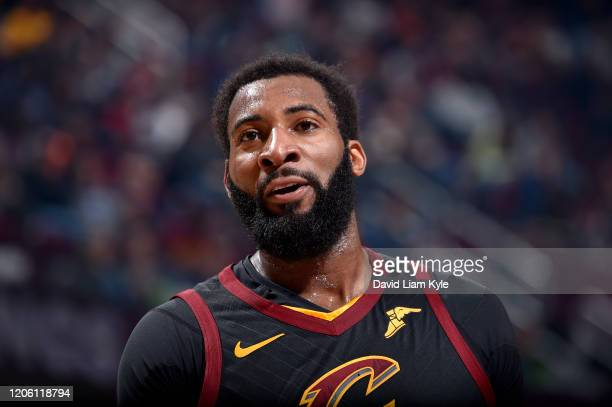 Andre Drummond of the Cleveland Cavaliers looks on during the game against the San Antonio Spurs on March 8, 2020 at Rocket Mortgage FieldHouse in...