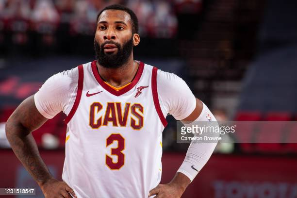 Andre Drummond of the Cleveland Cavaliers looks on during the game against the Portland Trail Blazers on February 12 , 2021 at the Moda Center Arena...