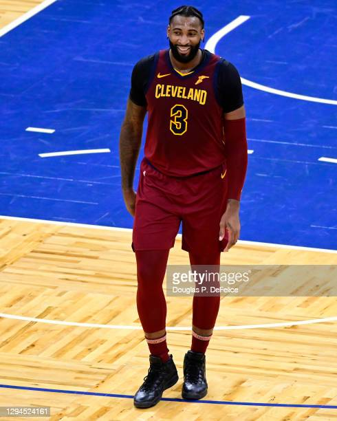 Andre Drummond of the Cleveland Cavaliers reacts during the fourth quarter against the Orlando Magic at Amway Center on January 04, 2021 in Orlando,...