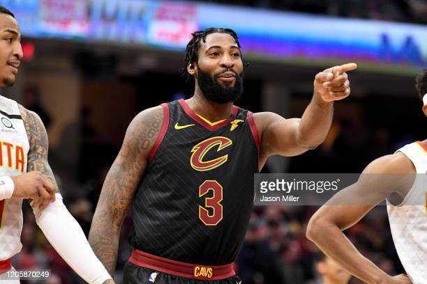 Andre Drummond of the Cleveland Cavaliers reacts to the Atlanta Hawks bench during the second half at Rocket Mortgage Fieldhouse on February 12, 2020...