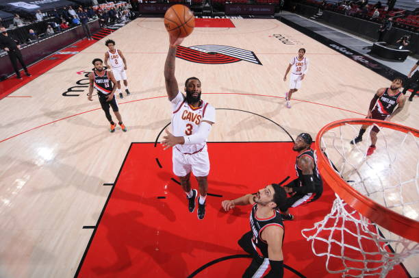 Andre Drummond of the Cleveland Cavaliers shoots the ball during the game against the Portland Trail Blazers on February 12, 2021 at the Moda Center...