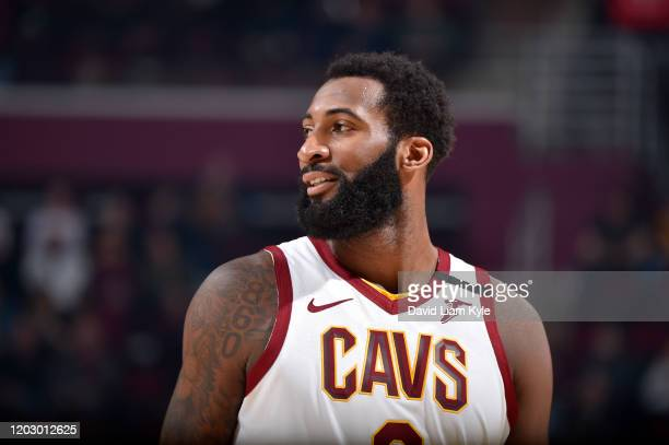 Andre Drummond of the Cleveland Cavaliers smiles during the game on February 24, 2020 at Rocket Mortgage FieldHouse in Cleveland, Ohio. NOTE TO USER:...