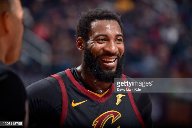 Andre Drummond of the Cleveland Cavaliers smiles during the game against the San Antonio Spurs on March 8, 2020 at Rocket Mortgage FieldHouse in...