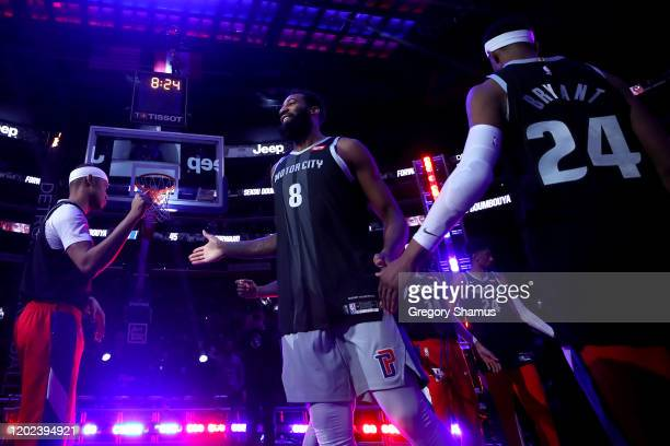 Andre Drummond of the Detroit Pistons and his teammates wear 8 and 24 jerseys during introductions to honor former Los Angeles Laker Kobe Bryant...