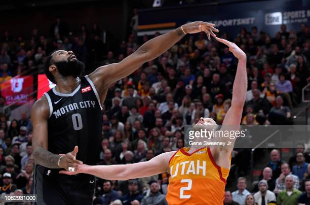 Andre Drummond of the Detroit Pistons and Joe Ingles of the Utah Jazz look for rebound in the second half of a NBA game at Vivint Smart Home Arena on...
