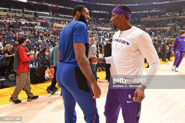 Andre Drummond of the Detroit Pistons and Kentavious CaldwellPope of the Los Angeles Lakers share a laugh prior to the game on January 9 2019 at...