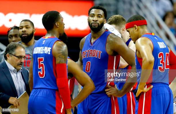 Andre Drummond of the Detroit Pistons and was ejected from the game after being called for a flagrant foul during the second half of a game agains...