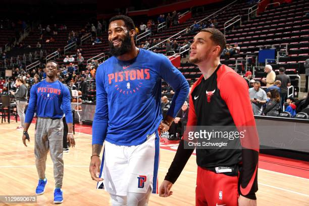 Andre Drummond of the Detroit Pistons and Zach LaVine of the Chicago Bulls warm up before the game on March 10 2019 at Little Caesars Arena in...