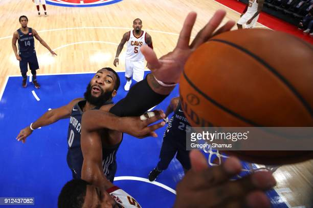 Andre Drummond of the Detroit Pistons blocks the shot of Tristan Thompson of the Cleveland Cavaliers during the second half at Little Caesars Arena...