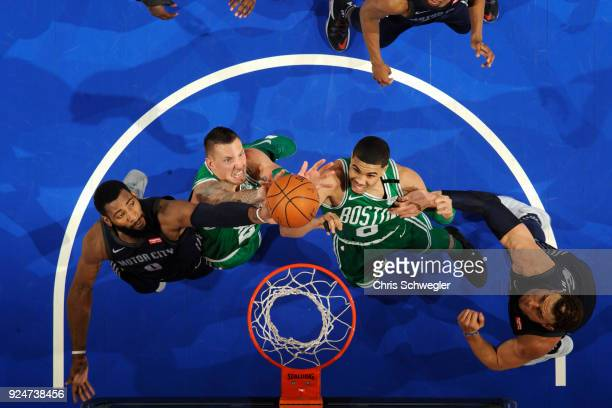 Andre Drummond of the Detroit Pistons Daniel Theis of the Boston Celtics Jayson Tatum of the Boston Celtics and Blake Griffin of the Detroit Pistons...
