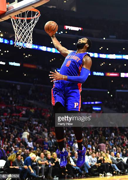 Andre Drummond of the Detroit Pistons does a windmill dunk on a breakaway during the first half against the Los Angeles Clippers at Staples Center on...