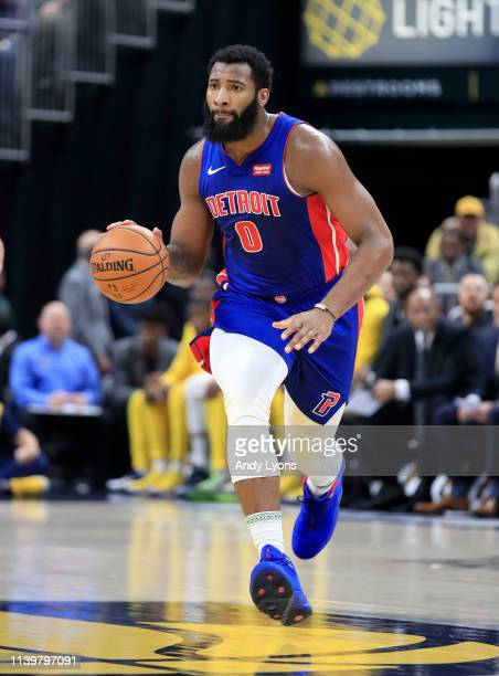 Andre Drummond of the Detroit Pistons dribbles the ball against the Indiana Pacers at Bankers Life Fieldhouse on April 01 2019 in Indianapolis...