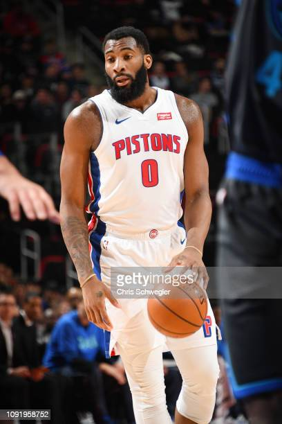 Andre Drummond of the Detroit Pistons dribbles the ball during the game against the Dallas Mavericks on January 31 2019 at Little Caesars Arena in...