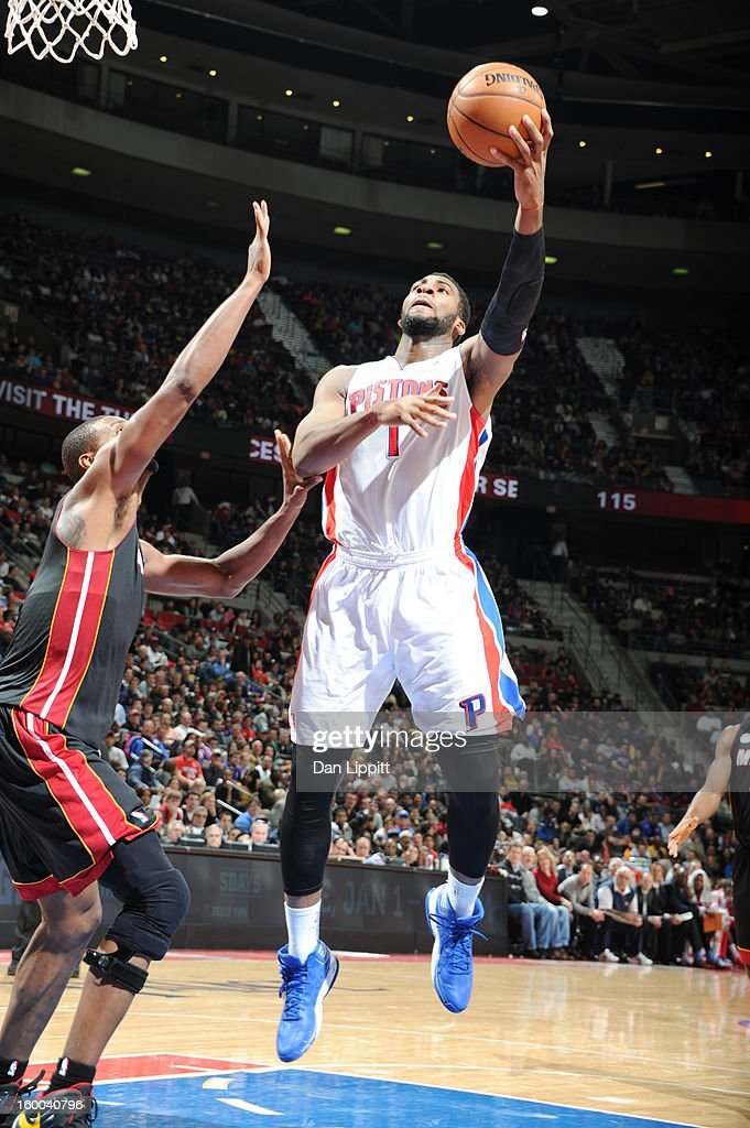 Andre Drummond #1 of the Detroit Pistons drives to the basket against the Miami Heat on December 28, 2012 at The Palace of Auburn Hills in Auburn Hills, Michigan.