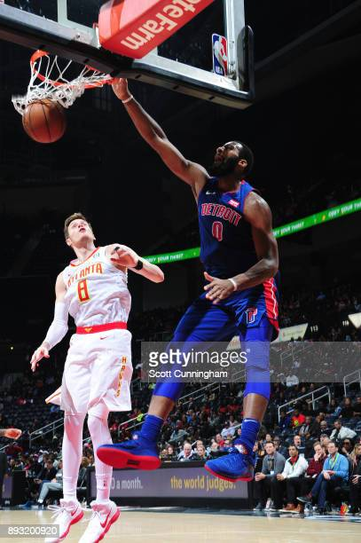 Andre Drummond of the Detroit Pistons dunks against the Atlanta Hawks on December 14 2017 at Philips Arena in Atlanta Georgia NOTE TO USER User...