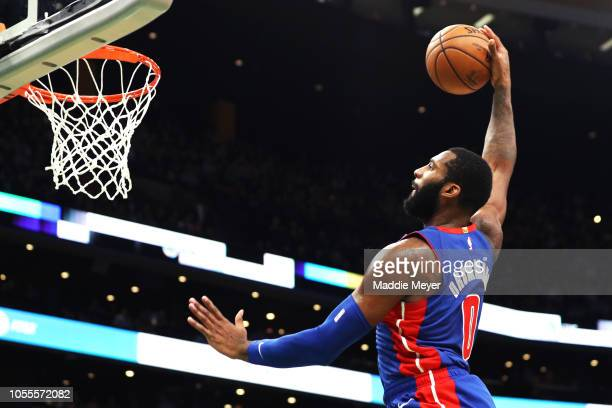 Andre Drummond of the Detroit Pistons dunks against the Boston Celtics during the first half fo the game between the Pistons and the Celtics at TD...