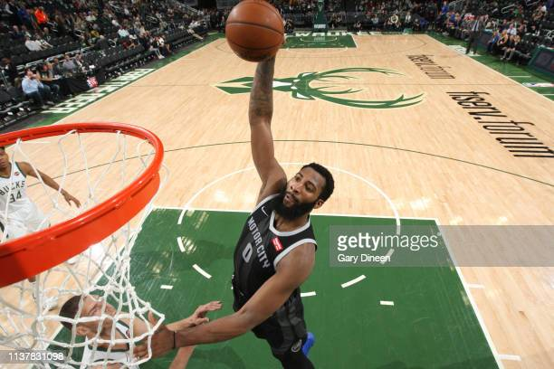 Andre Drummond of the Detroit Pistons dunks the ball during Game Two of Round One of the 2019 NBA Playoffs against the Detroit Pistons on April 17...