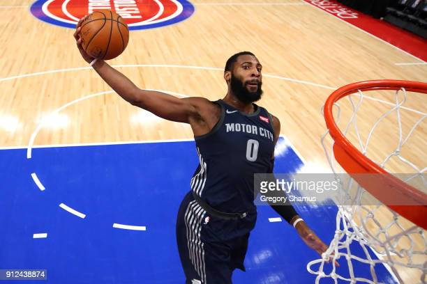 Andre Drummond of the Detroit Pistons dunks while playing the Cleveland Cavaliers during the first half at Little Caesars Arena on January 30 2018 in...
