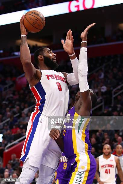 Andre Drummond of the Detroit Pistons gets a shot off over Cheick Diallo of the New Orleans Pelicans during the second half at Little Caesars Arena...