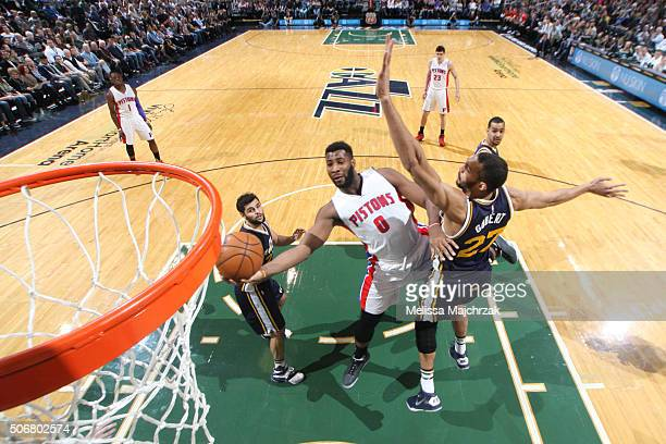 Andre Drummond of the Detroit Pistons goes for the layup against the Utah Jazz during the game on January 25 2016 at Vivint Smart Home Arena in Salt...