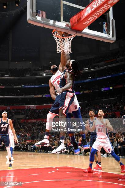 Andre Drummond of the Detroit Pistons goes to the basket against Montrezl Harrell of the LA Clippers on January 12 2019 at STAPLES Center in Los...