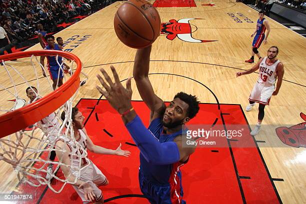 Andre Drummond of the Detroit Pistons goes to the basket against the Chicago Bulls on December 18 2015 at the United Center in Chicago Illinois NOTE...