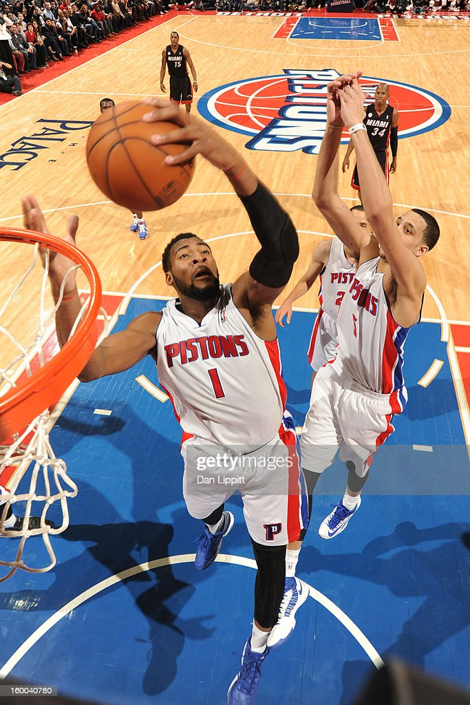 Andre Drummond #1 of the Detroit Pistons grabs a rebound against the Miami Heat on December 28, 2012 at The Palace of Auburn Hills in Auburn Hills, Michigan.