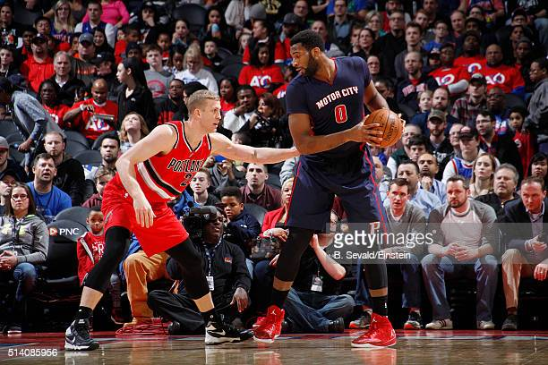 Andre Drummond of the Detroit Pistons handles the ball against Mason Plumlee of the Portland Trail Blazers on March 6 2016 at The Palace of Auburn...