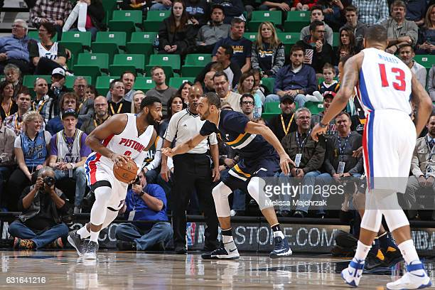 Andre Drummond of the Detroit Pistons handles the ball against Rudy Gobert of the Utah Jazz during a game on January 13 2017 at vivintSmartHome Arena...