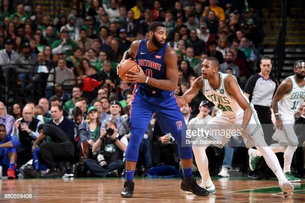 Andre Drummond of the Detroit Pistons handles the ball against the Boston Celtics on November 27 2017 at the TD Garden in Boston Massachusetts NOTE...