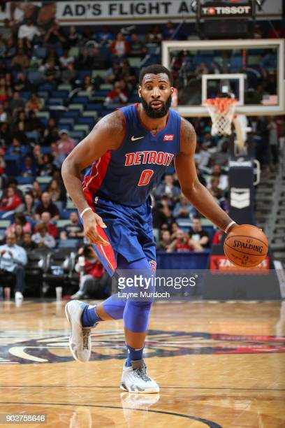 Andre Drummond of the Detroit Pistons handles the ball against the New Orleans Pelicans on January 8 2018 at Smoothie King Center in New Orleans...